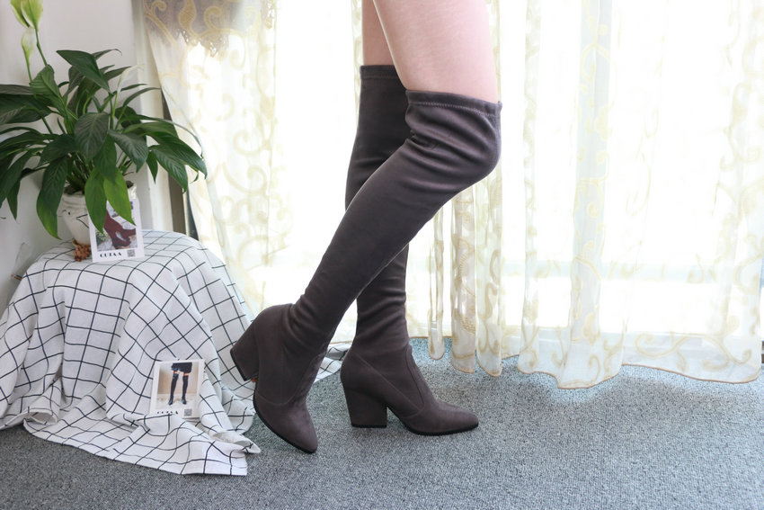Women Hoof Heels Winter Shoes Pointed Toe Sexy Elastic Fabric Boots 68