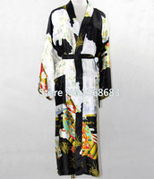 Vintage Black Women Faux Silk Long Robe Chinese National Trends Nightwear Kimono Yukata Bath Gown Size