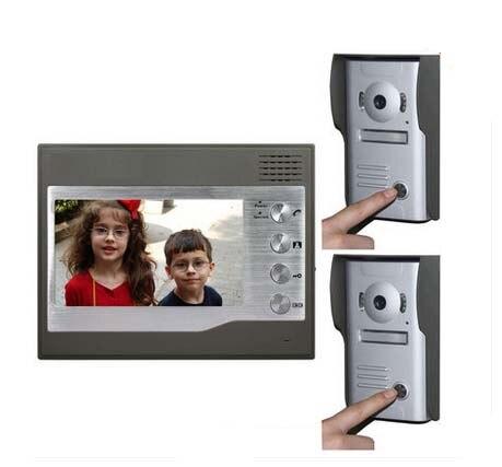 ZHUDELE Home CCTV 7 Inch Color TFT LCD Video Doorphone Door Bell Intercom IR Outdoor Camera 2cameras+1monitors