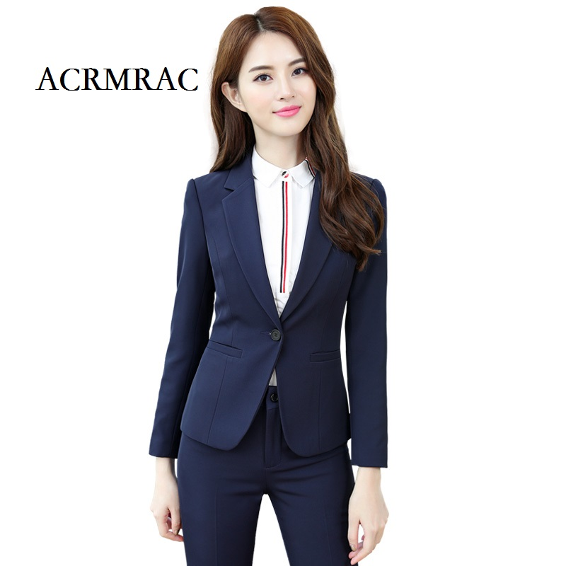 ACRMRAC Women Long sleeves Regular Solid color Slim Business OL Formal Pant Suits Workwear