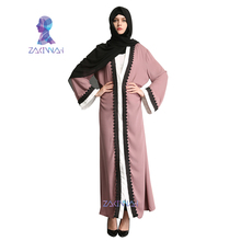 Muslim Women Fashion Lace Robe Adult emboridery lace cotton liene Robes Musulmane Turkish Abaya Muslim Cardigan Robes