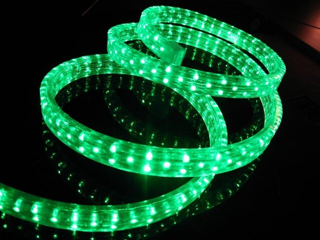 100m/roll LED 4 wires flat rope light;36leds/m;size:11mm*22mm;DC12V/24V/AC110/220V are optional;green color