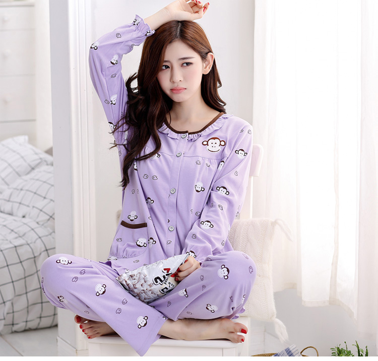 Brand Pajamas Cotton Purple Cute Monkey Sleepwear Casual Long Sleeve Nightgown O-neck Women Pajama Set Bottom Shirts +Long Pants