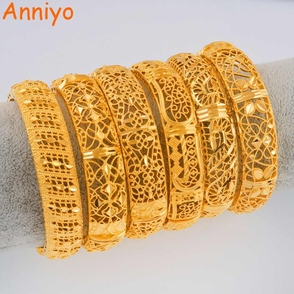 Anniyo 24K Dubai Bangles Jewellery Ethiopian Bracelets for Women African Wedding Jewelry Party Gifts (ONE PIECE) #110506