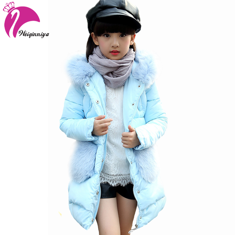 Children Girls Winter Parka Down Coats New Brand Fashion Fur Hooded Cotton-Padded Warm Jacket Casual Solid Kids Clothes Outwears brand fashion new 2016 winter children down