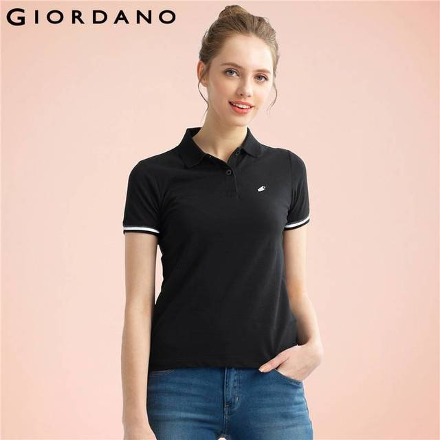 64df6a4d Giordano Women Polo Mujer Summer Women Tops Frog Embroidery Polos Short  Sleeves Poloshirt Casual Polo Shirt
