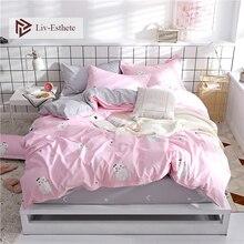 Liv-Esthete Cute Cat Cartoon Pink Bedding Set High Quality Soft Duvet Cover Pillowcase Bed Linen Fitted Sheet For Kids Gift