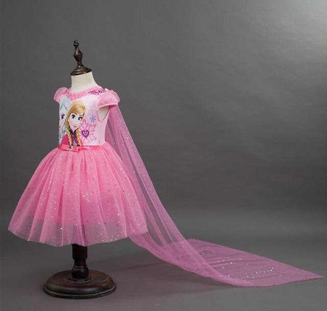 Sukienka dziewczyny Cartoon Wzór Berbeć Dziewczyny Ubrania Koronki Cekiny Księżniczka Elsa Sukienka Królowa Śniegu Halloween Party Role-play Kostium