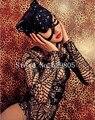 Sexy Черный Полный Горный Хрусталь Длинные Рукава Повязки Боди Элвис Сияющий Экипировка Партия Csuit Ночной Клуб Бар Костюмы Певица Одежда