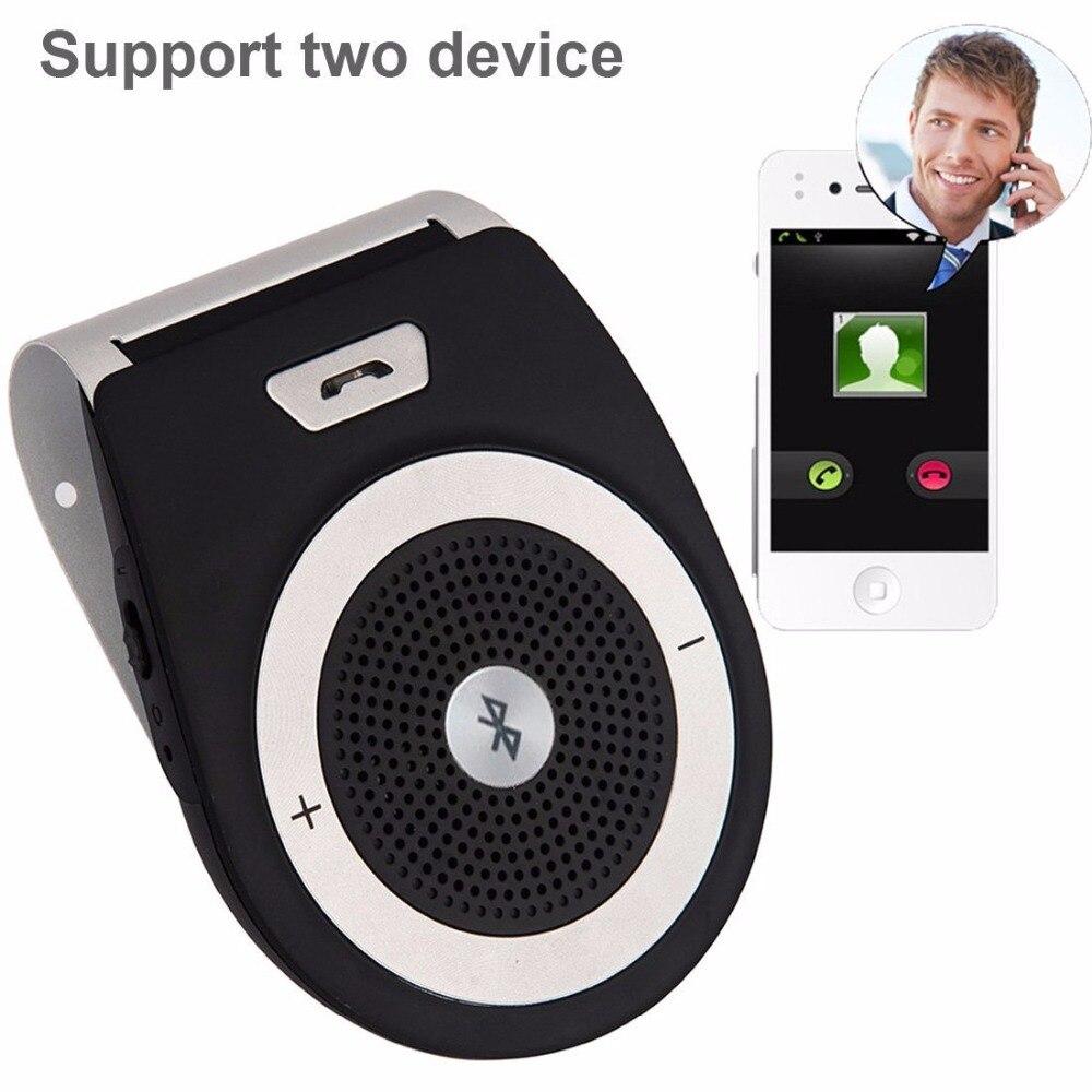 Mains libres Bluetooth De Voiture Kit Bluetooth 4.1 Récepteur De Voiture Haut-Parleur Antibruit Multipoint Clip Pare-Soleil pour deux Téléphones