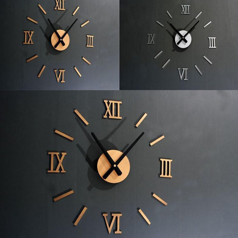 3D Modern Wall Decoration Acrylic Mirror Wall Clock Surface Roman Numerals Wall Clock Stickers Home DIY Decoration Drop Shipping