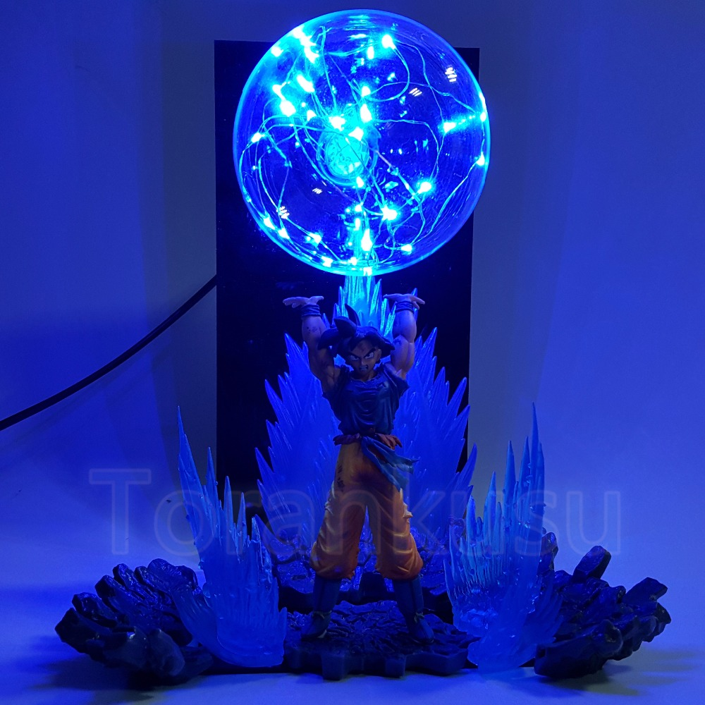 Dragon Ball Z Action Figure Son Goku Spirit Bomb Blue Fire Aura DIY Display Led Lamp Anime Dragon Ball Goku Super Saiyan DIY172