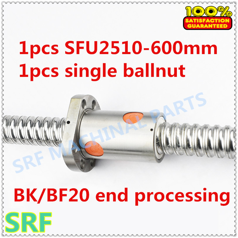 25mm Ballscrew Rolled C7 Ballscrew SFU2510 600mm with SFU2510 ballnut  BK/BF20 end processing for CNC parts25mm Ballscrew Rolled C7 Ballscrew SFU2510 600mm with SFU2510 ballnut  BK/BF20 end processing for CNC parts