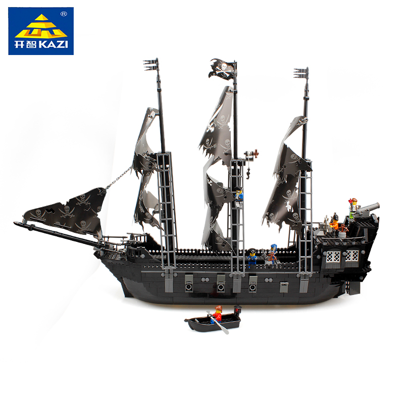 KAZI 87010 Building Blocks New Pirates of the Caribbean Black Pearl Ship Large Model educational toys for children Birthday gift kazi 228pcs military ship model building blocks kids toys imitation gun weapon equipment technic designer toys for kid