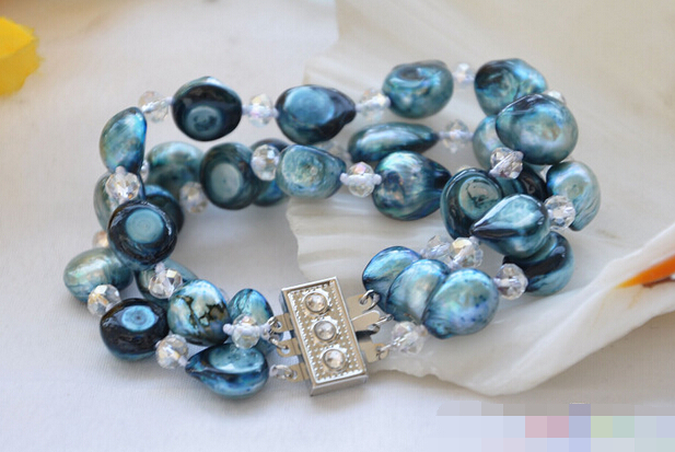 Hot selling>@@ > 09573 3row blue baroque pearl faceted crystal bracelet Bride jewelry free shipping