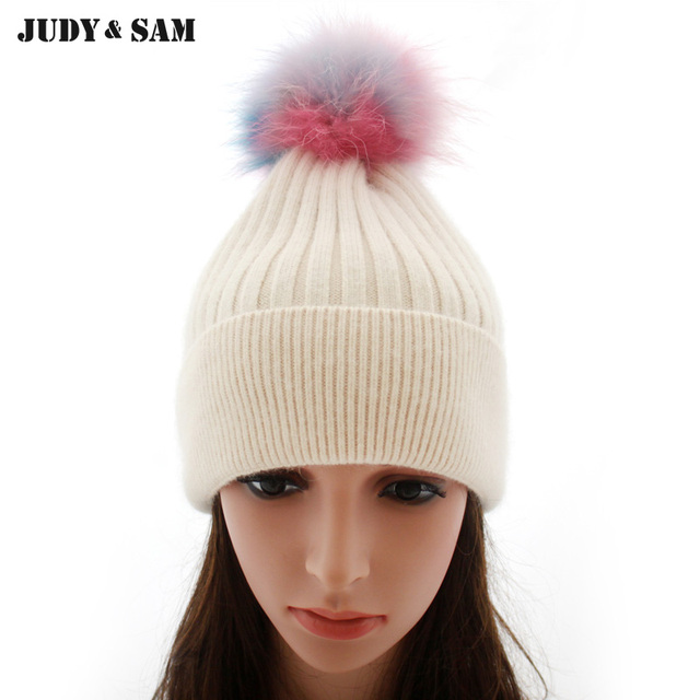 3a1312bc50fce Winter Rabbit Hair Blend Beanie Off White Hat with Luxury Real Raccoon Fur  Pom Pom Fur Ball Bobble Hats for Women