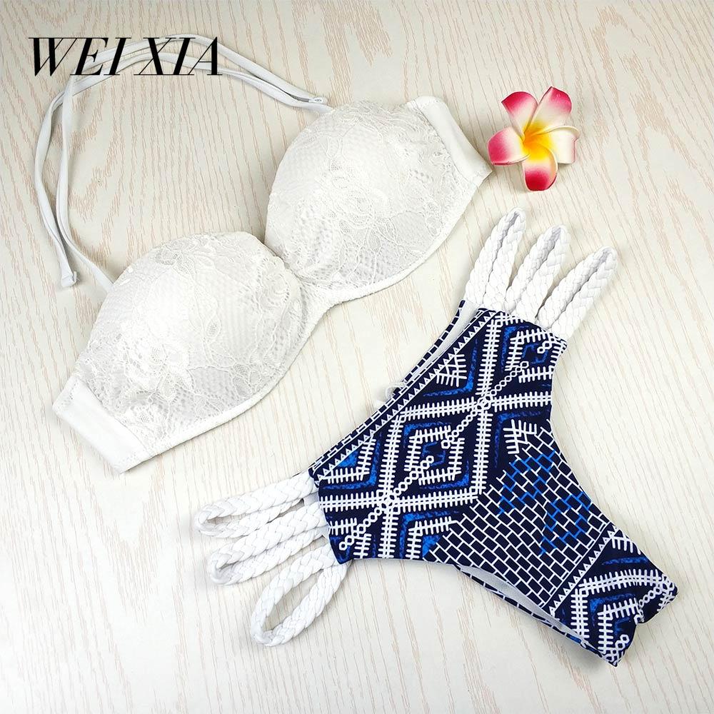 WEIXIA 2018 New Arrival Sexy Beach Swimwear 9034 Brazilian Women Swimsuit Beautiful Brazilian Bikini Sets Woman Bikinis New