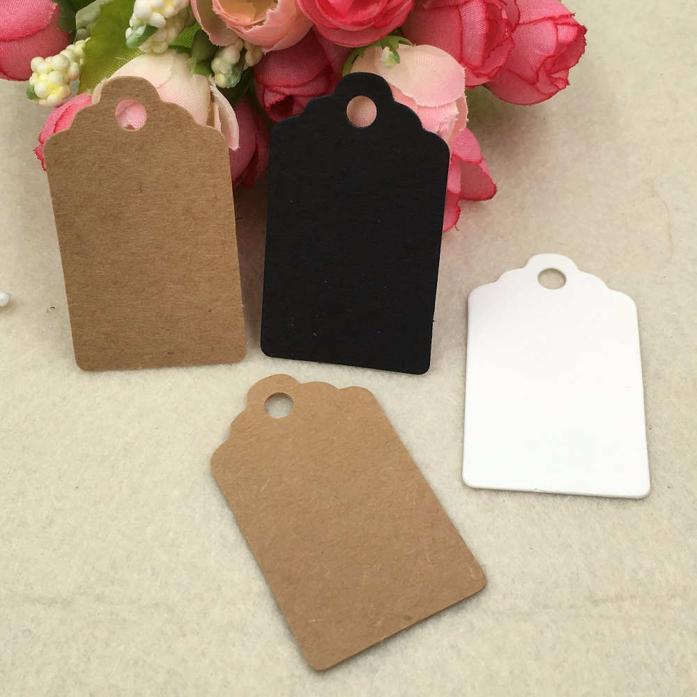500 pcs 5x3cm Scalloped Kraft Paper Card,Blank Brown/white/black Tag,Gift Tag,DIY Tag,Luggage Tag,Price Label|Garment Tags|   - AliExpress