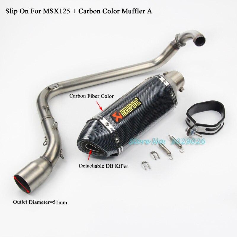 MSX125 полный скольжения системы для Honda для msx 125 мотоцикл модифицированных выхлопной глушитель трубы, передний ссылке трубы с Побег