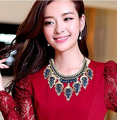 New Arrival Charming pearl Fake Collar necklace Handmade Fahion blue exaggerated bib statement necklace wedding accessaries set