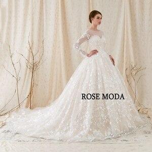Image 2 - Rose Moda Gorgeous แขนยาว Princess Wedding Ball Gown ต่ำ V V V V V V V V V V V V V V V V V V ชุดแต่งงานลูกไม้กับ Royal Train