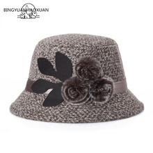 BINGYUANHAOXUAN Womens Winter Hat Felt Woolen with Buckle & Wide Brim Flowers Black/Red/Khaki/Gray