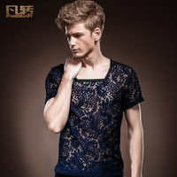 Free Shipping New Fashion Personality Male Men S Summer Palace S Lace Short Sleeved T Shirt