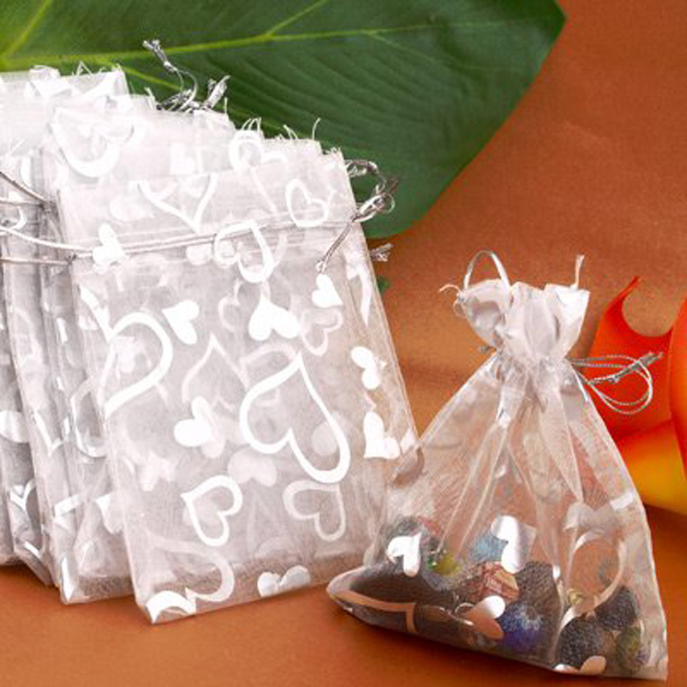 NOCM Hot 25PCs Silver Organza Wedding Favor Gift Bag Pouch Packaging Jewelry Candy Bags