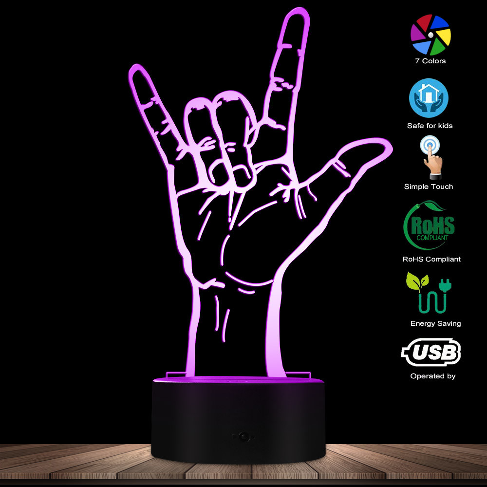 Rock Hand Sign LED Light Creative 3D Optical Illusion Light Novelty Table Lamp Heavy Metal Rock Music Fans LED Decor Night Light
