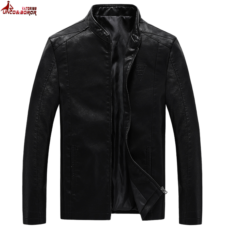 UNCO&BOROR plus size M~7XL 8XL Men's PU Jackets Coats Motorcycle Leather Jackets Men Autumn Leather Clothing Male Casual Coats