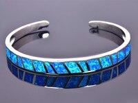 סיטונאי וקמעונאיות אופנה צמידי אופל אש כחול קנס 925 רסיס תכשיטים לנשים _ DSC305