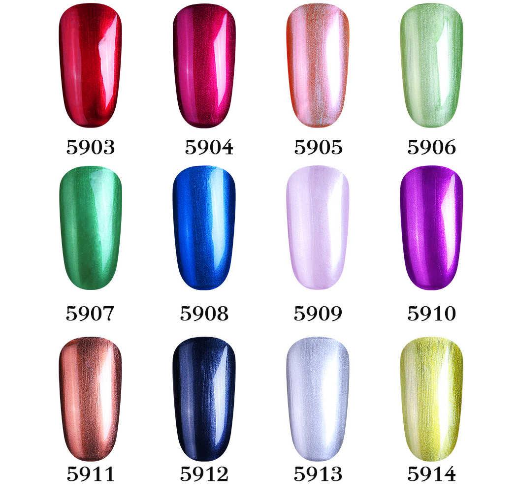 CLAVUZ 10ML metaliczny + seria nago + Mate warstwa wierzchnia żel do paznokci polski UV LED lakier do paznokci pół-stałe błyszczące nie potrzebujesz lampy UV