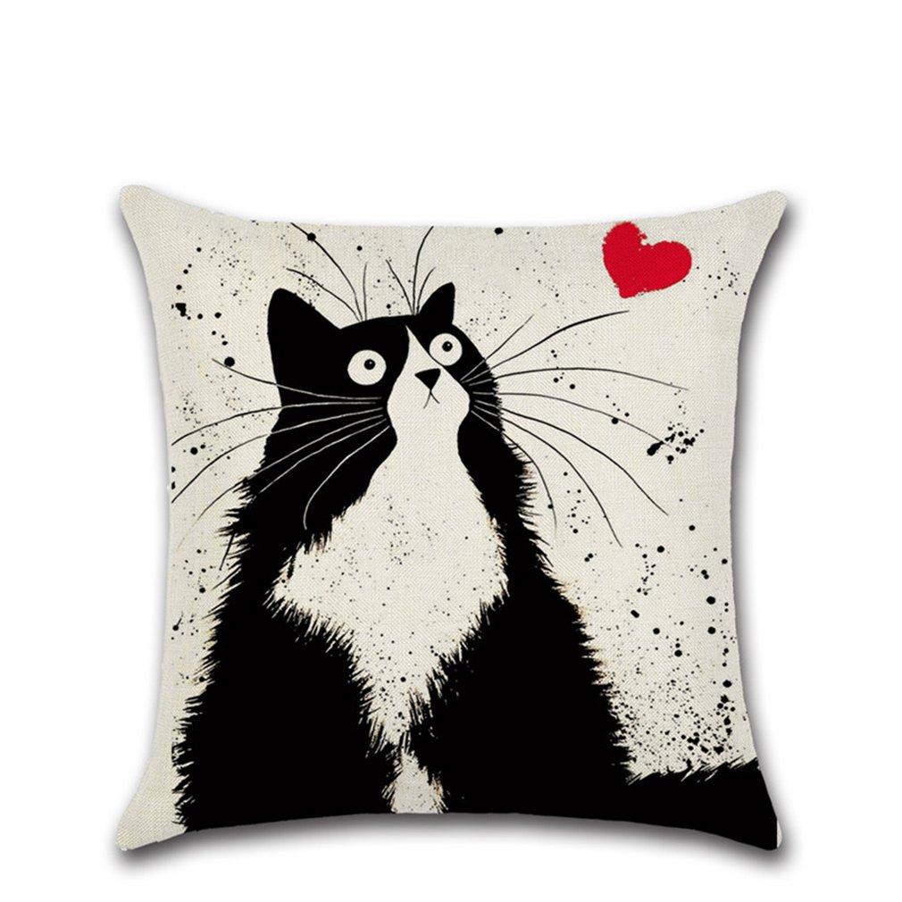 Cartoon Linen Cotton Blend Cushion Cover Home Office Sofa Square Cat Pillow Case Decorative Cushion Covers vasos sanitários coloridos