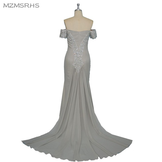 f156402eae13 Vestido de baile MZMSRHS Elegante Aperto Indietro Abito Da Sera di Lusso  Bordare Argento Sirena Prom