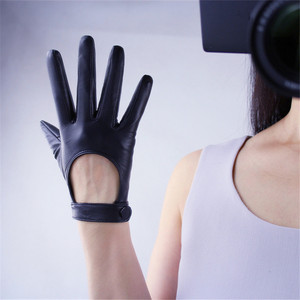 Image 5 - Touchscreen Genuine Leather Woman Gloves Pure Sheepskin Locomotive Exposing The Back Of The Hand Short Style Nylon Lined TB94