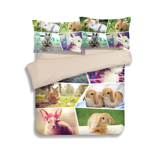 New Custom Made Cotton Rabbit Designs Bedding Sets 3pcs Thicker Bedclothes Wholesale  Bed Linen Duvet Cover