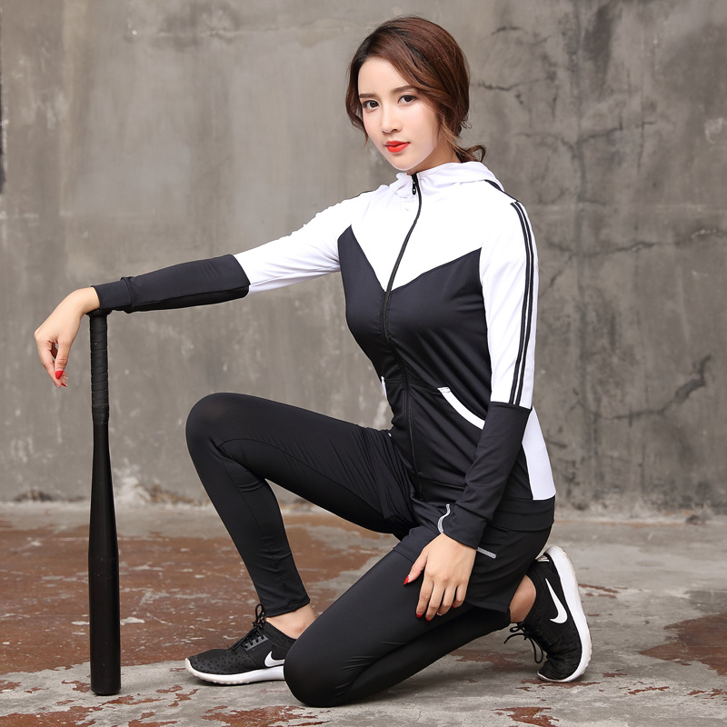 Women Yoga Set 2018 New Gym Sport Suit Zipper Hoodies&Yoga Shirt&Sports Bra&Running Pants&Shorts 5 Pieces Set Breathable Fitness