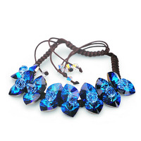 USTYLE Drawstring Haiyangzhixin Austrian Crystal Bracelet Female Korean Multi Layer 925 Sterling Silver Jewelry YB0003