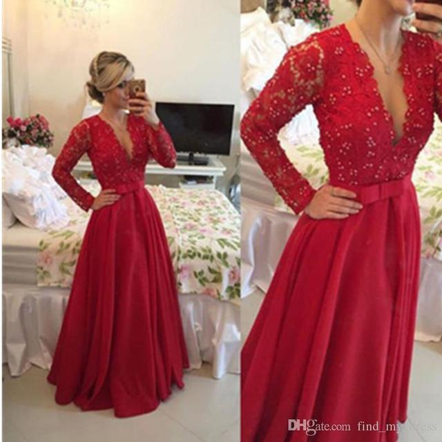 85bb33871f9 Red Prom Dresses A Line New Long Sleeve Lace Beaded Bodice Formal Party Gowns  Deep V Neck Satin Evening Dress P154