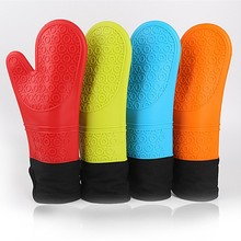Длинная длина и добавить хлопчатобумажное силиконовое покрытие перчатки для микроволновой печи термостойкие перчатки для барбекю и жаростойкие прихватки