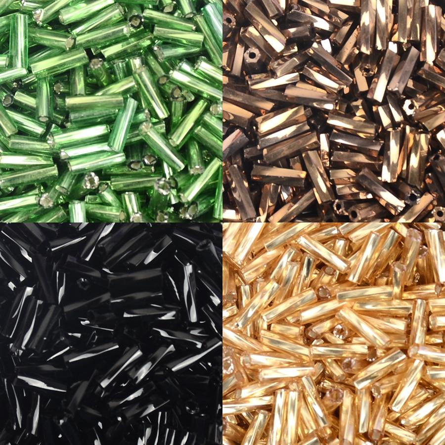 50gr 6mm black glass twist bugle seed beads jewellery making craft UK