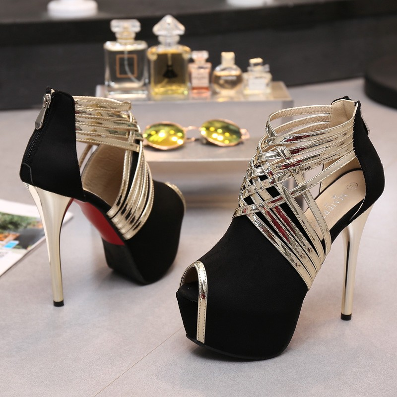 Big Size 34-44 Sexy Platform Lady's Open Toe Shoes 14cm Stiletto Heel Women Stage Prom Shoes Thin Heel Party/wedding Sandals 3