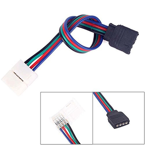 100pcs 4Pin Solderless Connector Cable to Female Adapter For 5050 3528 RGB LED Strip