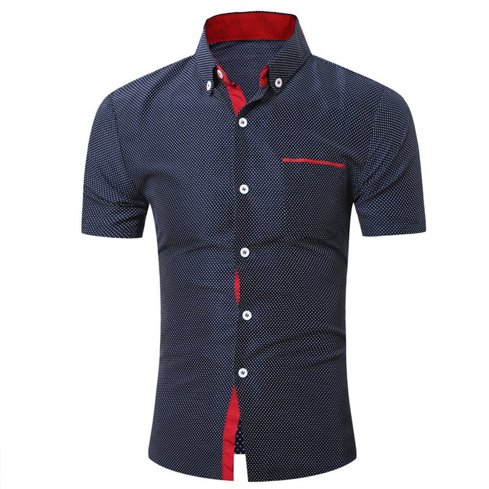 2019 Men Summer New Fashion Casual Slim Shirt Men Casual Mens Casual Short Sleeve Shirt Business Slim Shirt Dot Print Top #40