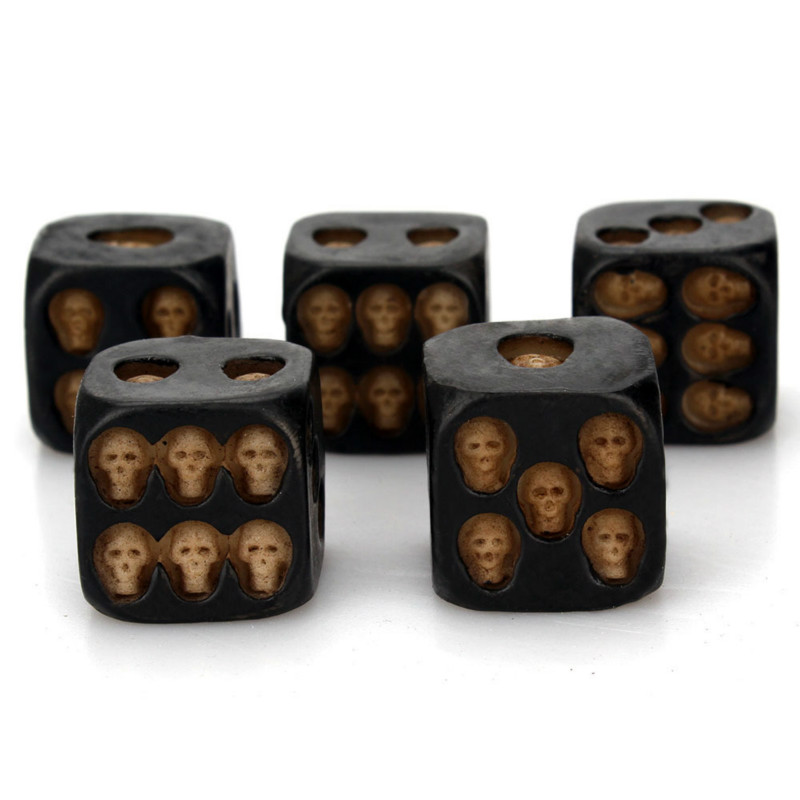 5pcs/set Creative Black Skull Dice Travelling Party Game Dice Tower With Death Table Games Tool Travel Accessories