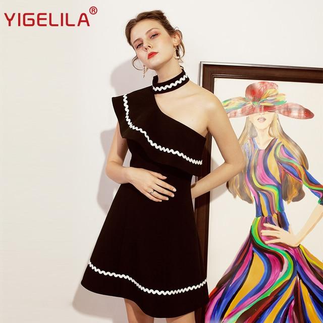 YIGELILA Fashion Women Black One Shoulder Party Dress Summer Sleeveless Patchwork Empire Slim Knee Length Halter Dress 64097