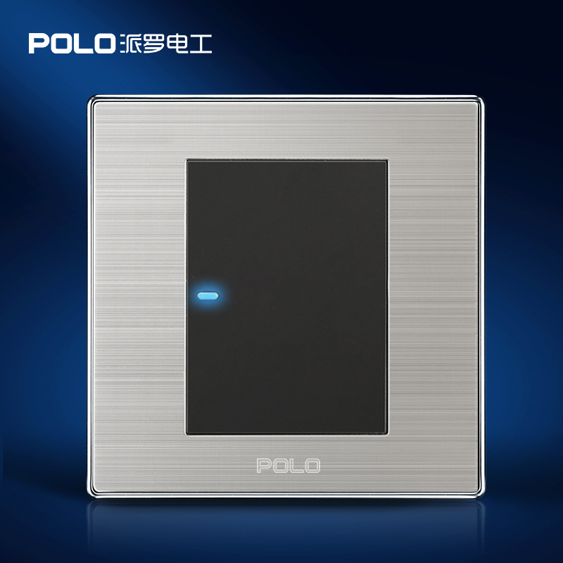 Free Shipping, POLO Luxury Wall Light Switch Panel, 1 Gang 2 Way, Champagne/Black, Push Button LED Switch, 16A, 110~250V, 220V цена
