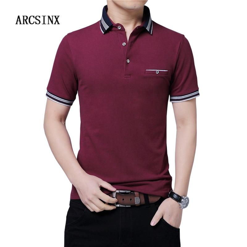 ARCSINX England Style   Polo   Shirt Men Large Size 5XL 4XL 3XL Short Sleeve Summer Mens   Polo   Shirts Brand Breathable   Polos   Man