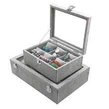 Top selling 6 Grids/12 Grids Pillow Ice Velvet Jewelry Box Bracelet Necklace Watch Storage Display Props