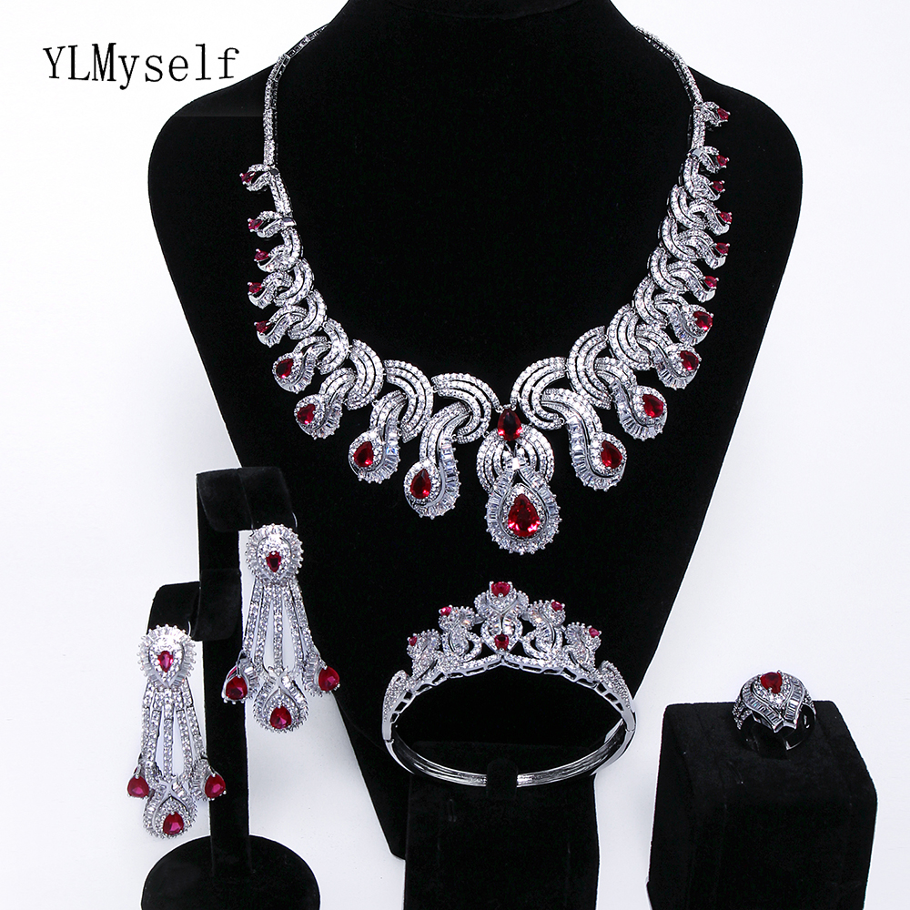 Limited quantity sale Luxury party jewellery sets Red crystal Necklace+Bracelet+earrings+ring Large jewelry set for wedding